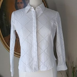 Alfani Petite Embroidered Lace Blouse Top. 8P